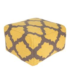 Look at this Yellow & Gray Ikat Rectangular Wool Pouf on #zulily today!