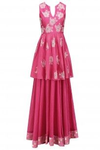 Pink Floral Work Peplum Tunic and Skirt Set #myoho #ethnic #shopnow #ppus #Happyshopping