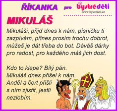 Říkanka pro bystré děti - Mikuláš, čert a Anděl Saint Nicholas, Craft Activities, Christmas Time, Advent, Preschool, Projects To Try, Language, How To Plan, Learning