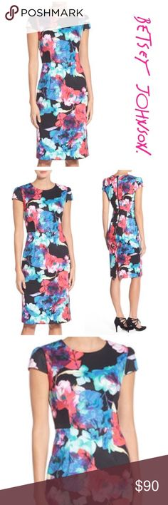 """NWT Betsy Johnson Floral Midi Dress Brand new with tags Betsy Johnson Floral Midi Dress. Crew neck/ Cap sleeves/ zip closure/ Fully lined/ Approx. 40"""" length/ Pit to pit 18""""/ waist 16"""". Shell made of poly/ spandex blend. Lining made of 100% polyester Betsey Johnson Dresses Midi"""