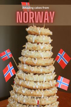 The best Norwegian cakes: The towering kranskake with small flags of Norway. Plus lots more cakes from Scandinavia.