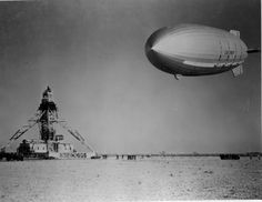 Dirigible air-craft carrier USS Macon (ZRS-5) approaching to land.