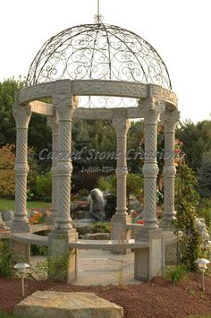 Our gazebo designs feature classic floral, leaf or vine detailing. Click on the picture to view more gazebo pictures. #Stone #Gazebo #Ideas #home