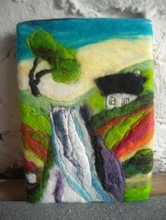 felt picture felt painting waterfall picture by SueForeyfibreart, $24.00