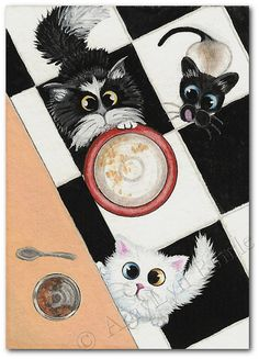 Print from one of my Original Paintings ~ AmyLyn Bihrle ●•٠·˙ Curious Kitties Series #120    Title: Time for Din Din    ● Sizes available- Use drop