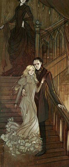 Lucille Sharpe, Edith Cushing, and Sir Thomas Sharpe. Crimson Peak.