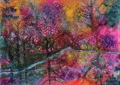 """When Cherry Blossoms Fall"" mixed media art by Donna ""Blacky"" Blackhall 11x14 $125"
