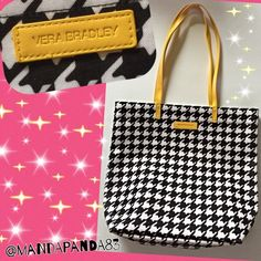 "VB ""Hello Yellow in Midnight Houndstooth"" Tote NWOT I adore this Vera print! Perfect for any Vera fan that likes subtle patterns! Very large tote measuring 13"" x 15"" x 5.25"". Grab it while it's hot!! Vera Bradley Bags Totes"