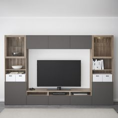 IKEA - BESTÅ TV storage combination/glass doors walnut effect light Tv Unit Decor, Tv Wall Decor, Tv Cabinet Design, Tv Wall Design, Muebles Rack Tv, Tv Wanddekor, Modern Tv Wall Units, Living Room Tv Unit Designs, Tv Storage