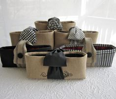 padded wine totes for bridesmaids, can be used for other small gifts, or even as a planter!
