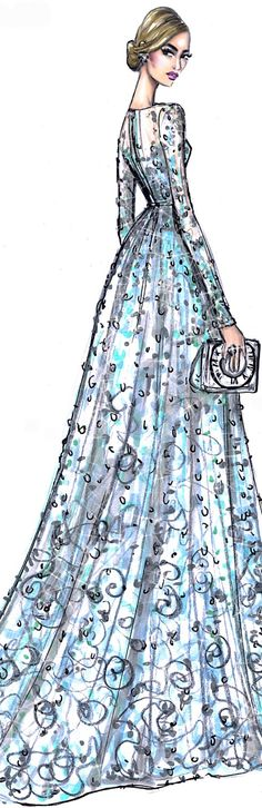 Fashion Illustration by Hayden Williams for Elie Saab Cinderella premiere.