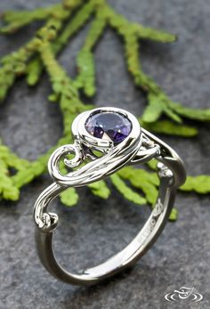 Swirling Sapphire Engagement Ring #GreenLakeJewelry