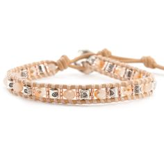 Champagne Mix Single Wrap Bracelet on Peach Leather