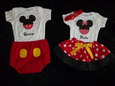 SHANNON--look at these!   Disney outfit shirt Minnie Mickey Mouse boy twins girl 1st Birthday onesie little man tie big brother  sister size 3 6 9 12 18 24 months. $79.50, via Etsy.