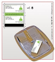 Propuesta diseño (2) cajas de cerillas para el restaurante La Capilla de la Bolsa en Madrid.