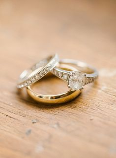 An extreme close-up — sans distraction — is definitely a no-fail photo option. Just lay your ring on a clean background and let its beauty speak for itself.  Photo by Rebecca Yale Portraits via Style Me Pretty