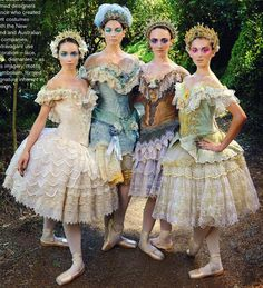 photo Andrew Coffey: Royal New Zealand Ballet: dancers Lucy Green, Abigail Boyle, Clytie Campbell, Katherine Grange: via Mindfood Ballerina Dancing, Ballet Dancers, Ballerinas, Tutu Costumes, Ballet Costumes, Ballet Russe, Dance Dreams, Beautiful Costumes, Ballet Beautiful