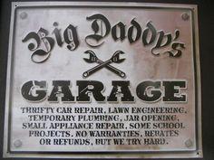 Big Daddys Garage Gas Station Shop Man Cave Vintage Sign Hot Rat Rod Muscle Car