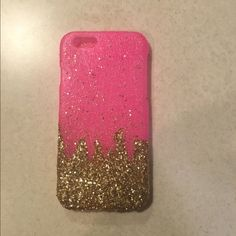 Pink and gold glitter phone case This is a handmade pink and gold glitter phone case for the iPhone 6. It is two pieces and snaps around the phone. Accessories Phone Cases