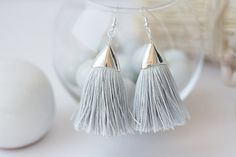 Hey, I found this really awesome Etsy listing at https://www.etsy.com/listing/239701841/tassel-earrings-grey-silk-earrings