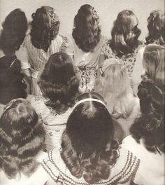 Nina Leen: Popular shoulder length hairstyle worn by teenagers. Tulsa, 1947.