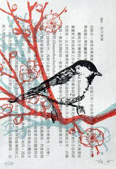 Serie mit der Kohlmeise!    Linoldruck auf Buchseiten, in 3 Druckgängen von Hand gedruckt.