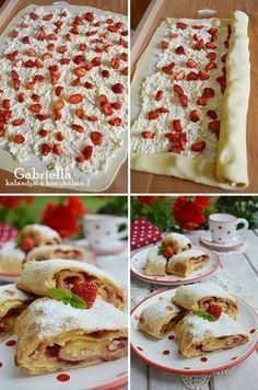 Gabriella kalandjai a konyhában :): Epres-túrós rétes Hungarian Desserts, Sweet And Salty, Apple Pie, Food Porn, Food And Drink, Cooking Recipes, Sweets, Bread, Homemade