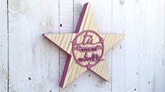 Estrella de madera ROSA por SmileAndWood en Etsy