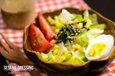 Healthy homemade Japanese sesame dressing recipe made from roasted sesame seed, mayo, rice vinegar, soy sauce, and soy sauce.