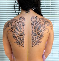 Intricate Shoulder Blade Polynesian Tattoos