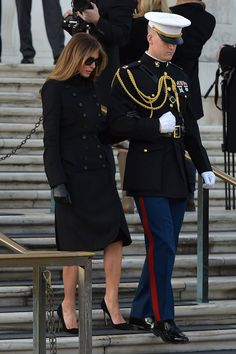 Melania Trump Suits Up in a Military-Inspired Coat and Dress by Norisol Ferrari to Arlington on 1/19/17