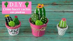 cactus y bonsai rio cuarto Rock Crafts, Cute Crafts, Crafts For Kids, Arts And Crafts, Diy Crafts, Pebble Painting, Pebble Art, Stone Cactus, Planner 2018