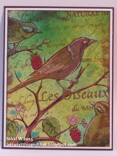Bird background stamp from Carmen's Veranda ... made for a Single Layer Challenge.