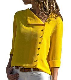 f033b4d3 Women Long Sleeve Office Lady Chiffon Blouse Shirt T-Shirt Ladies Tops  Fashion