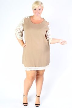 Plus Size Clothing for Women - Crochet Shift Dress - Taupe (Sizes 14 - 22) - Society+ - Society Plus - Buy Online Now!