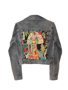 Gray Denim jacket Frida Kahlo embellished от AnnaDaGalaOfficial