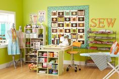 Peek into stylish and functional sewing rooms and work spaces! Steal storage  ideas for your own room or be inspired to carve out room in your home for an  organized sewing space.