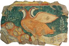 The Partridges. Ancient Greek fresco from the Palace of Knossos. The best preserved sections are on the west wall and depict birds that closely resemble the male Red-Legged Partridge of southern Europe.