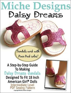 Miche Designs Daisy Dreams Sandals Doll Clothes Pattern 18 inch American Girl Dolls | Pixie Faire
