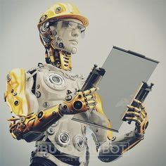 Robot with tablet in helmet. Robot in yellow hardhat holding tablet 3d render.