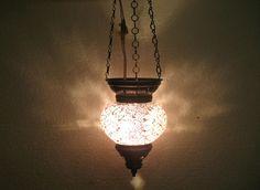 Moroccan lantern mosaic hanging lamp glass chandelier light lampen candle 056 #Handmade #Moroccan