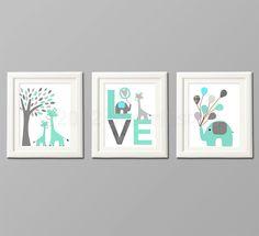 Grey and teal Nursery Art Print Set Kids Room by SugarInspire, $39.95