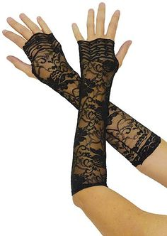 12 Inch Long Black Lace Gloves