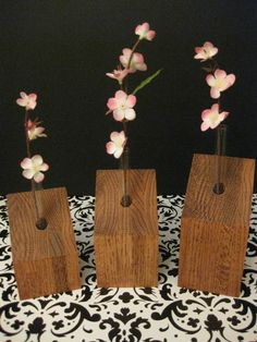 Set of Three Solid Oak Glass Test Tube Vases, Your Choice of Finish/Stain. $36.00, via Etsy.