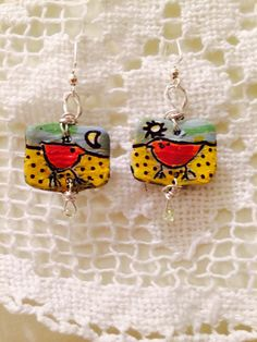 Painted polymer clay lovebird earrings