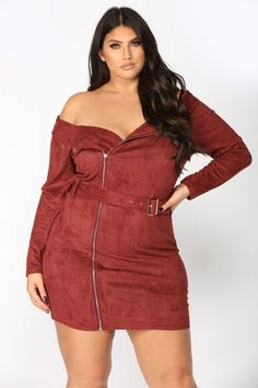 Belt It Out Suede Dress - Burgundy Plus Size Fashion For Women, Plus Size Womens Clothing, Clothes For Women, Plus Zise, Mode Plus, Plus Size Dresses, Plus Size Outfits, Curvy Outfits, Fashion Outfits