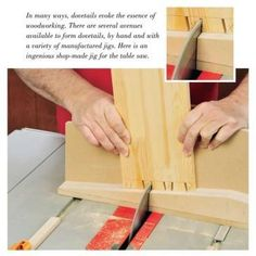 Table Saw Dovetail Jig Downloadable Plan. If you like the look of hand-cut dovetails, but don't have time (or patience) for all the meticulous work it takes to create them, then try this table saw method which uses a sliding dovetail sled to cut 90 percent of each joint. The jig cuts dovetails far faster than you can cut them by hand, and you can size the pins and tails and customize their spacing to suit just about any project - join drawer sides, build a box or small chest, etc.