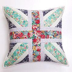 Union Jack flag cushion (pillow) made with Liberty tana lawn fabrics from a tikkilondon.com pattern