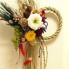 お正月 プリザ-ブドフラワー しめ縄飾り