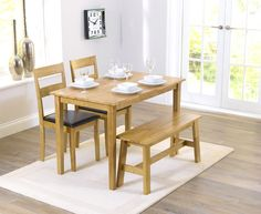 Buy the Chiltern Oak Dining Set with Bench and Chairs at Oak Furniture Superstore